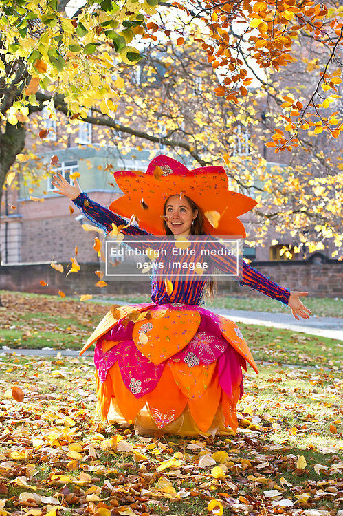 Pictured: Liberty Bramall wearing a Pippa Brown design which was influenced by Lakshmi, the Hindu goddess of wealth, fortune and prosperity.<br />  Outfits adorned with bells, lights and mirrors are among the designs by University of Edinburgh students which are to feature at events marking the Indian festival of Diwali this weekend<br /> (c) Ger Harley   Edinburgh Elite media