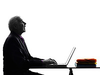 One Caucasian Senior Business Man computing laptop looking up mouth open Silhouette White Background