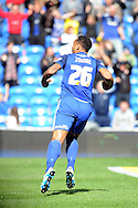 Cardiff City's Kenneth Zohore celebrates after he scores his teams 1st goal to equalise at 1-1 against Bolton.  Skybet football league championship match, Cardiff city v Bolton Wanderers at the Cardiff city Stadium in Cardiff, South Wales on Saturday 23rd April 2016.<br /> pic by Carl Robertson, Andrew Orchard sports photography.
