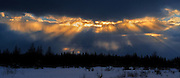 Panorama of stormy sky in boreal forest<br /> Smooth Rock Falls<br /> Ontario<br /> Canada