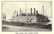 The thousand-ton ironclad Essex [USS Essex was a 1000-ton ironclad river gunboat of the United States Army and later United States Navy during the American Civil War. It was named for Essex County, Massachusetts. USS Essex was originally constructed in 1856 at New Albany, Indiana as a steam-powered ferry named New Era.] from the book ' The Civil war through the camera ' hundreds of vivid photographs actually taken in Civil war times, sixteen reproductions in color of famous war paintings. The new text history by Henry W. Elson. A. complete illustrated history of the Civil war