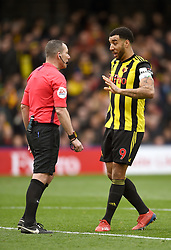 Watford's Troy Deeney (right) has words with referee<br />Kevin Friend during the match