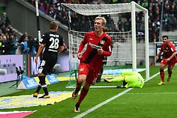 MOENCHENGLADBACH, Oct. 22, 2017  Julian Brandt of Leverkusen celebrates after scoring during the Bundesliga match between Borussia Moenchengladbach and Bayer 04 Leverkusen in Moenchengladbach, Germany, on October 21, 2017. Borussia Moenchengladbach lost 1-5. (Credit Image: © Ulrich Hufnagel/Xinhua via ZUMA Wire)