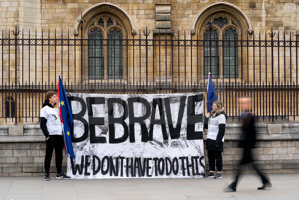 © Licensed to London News Pictures. 27/03/2019. London, UK. Demonstrators with a flag in Westminster this morning. Later today MPs are expected to vote on a series of indicative votes on alternative proposals to British Prime Minister Theresa May's withdrawal agreement. Photo credit : Tom Nicholson/LNP