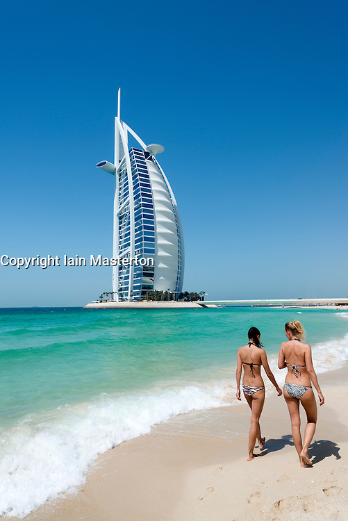 Luxury Burj al Arab Hotel on beach front in Dubai United Arab Emirates