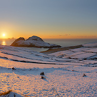 Amazing Winter Sunset Over snowy Puffin Island and Skelligs, County Kerry, Ireland ****** <br /> <br /> Visit & browse through my Photography & Art Gallery, located on the Wild Atlantic Way & Skellig Ring between Waterville and Ballinskelligs (Skellig Coast R567), only 3 minutes from the main Ring of Kerry road.<br /> https://goo.gl/maps/syg6bd3KQtw<br /> <br /> ******<br /> <br /> Contact: 085 7803273 from an Irish mobile phone or +353 85 7803273 from an international mobile phone