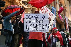 October 5, 2018 - Sao Paulo, Sao Paulo, Brazil - supporters of Brazil's presidential candidate Fernando Haddad rally in downtown Sao Paulo on October 05, 2018. (Credit Image: © Dario Oliveira/NurPhoto/ZUMA Press)