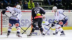 05.01.2016, Messestadion, Dornbirn, AUT, EBEL, Dornbirner Eishockey Club vs EC VSV, 40. Runde, im Bild v.l. Markus Schlacher, (EC VSV, #23), Chris D'Alvise, (Dornbirner Eishockey Club, #15), Jean Philippe Lamourex, (EC VSV, #01) und Stefan Bacher, (EC VSV, #19)// during the Erste Bank Icehockey League 40th round match between Dornbirner Eishockey Club and EC VSV at the Messestadion in Dornbirn, Austria on 2016/01/05, EXPA Pictures © 2016, PhotoCredit: EXPA/ Peter Rinderer