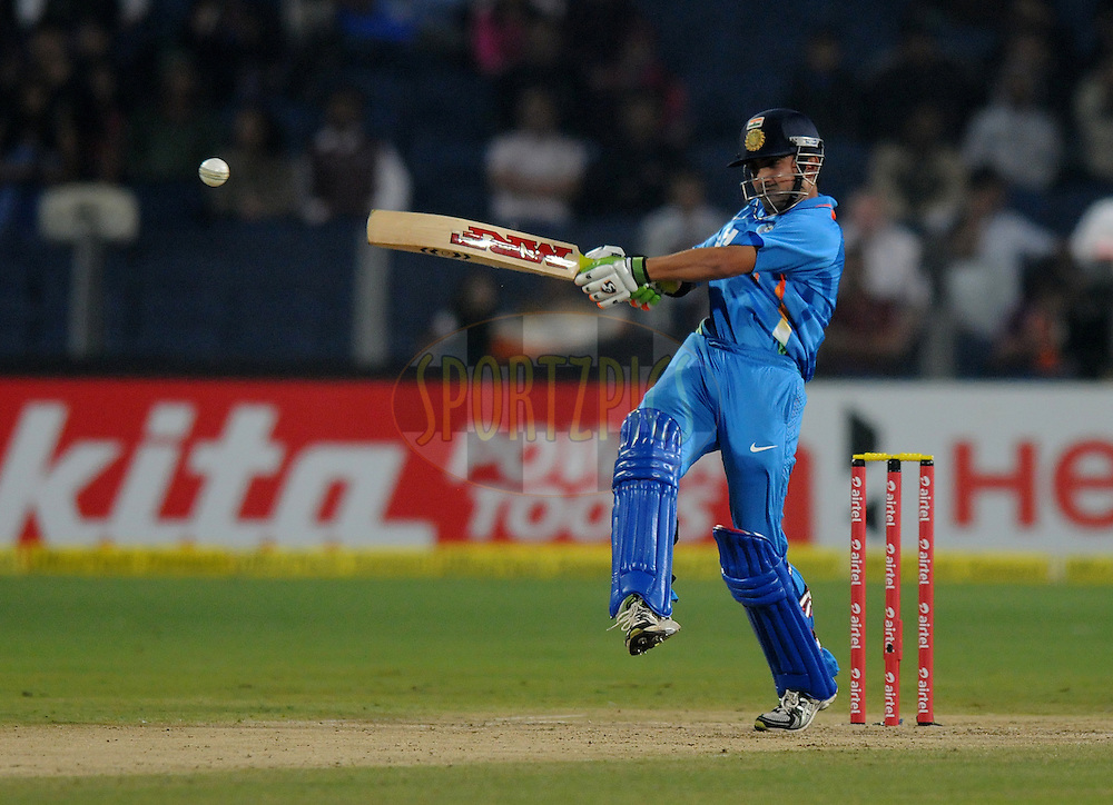 Gautam Gambhir of India bats during the first Airtel T20 Match between India and England held at Subrata Roy Sahara stadium in Pune on the  20th December 2012..Photo by  Pal Pillai/BCCI/SPORTZPICS .
