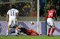 1:1 Tor von Zypern von Okkas (nicht im Bild), Constantinou (Nr.11), Torwart Timo Hildebrand geschlagen, Arne Friedrich rechts geschlagen <br /> EM-Qualifikation Zypern - Deutschland<br /> Cyprus - Germany <br /> Kypros - Tyskland<br /> Norway only