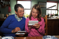 Grandmother and grandchild playing on Nintendo DS game UK