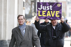 © Licensed to London News Pictures. 29/01/2019. London, UK. Dominic Grieve is followed by a protestor as he  arrives at Parliament ahead of today's crucial votes on Brexit amendments. Photo credit: Peter Macdiarmid/LNP