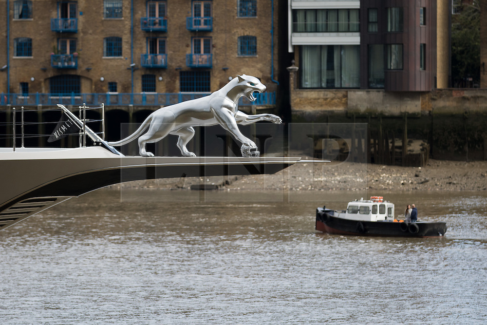 © Licensed to London News Pictures. 01/10/2016. LONDON, UK.  A silver Jaguar, which has one of its paws resting on a silver American football helmet is attached to the bow of superyacht, Kismet. Kismet' arrived in London and moored at Butlers Wharf on the River Thames earlier this week, but the silver Jaguar was not fitted on its arrival. Kismet is 308 feet long and is reportedly owned by Pakistani-American billionaire Shahid Khan. Mr Khan owns the National Football League (NFL) team, the Jacksonville Jaguars, who are due to play the Colts in an International Series game at Wembley tomorrow. Kismet has 6 staterooms, with the master bedroom having its own private deck with jacuzzi and helipad and can be chartered for an estimated £1m per week.  Photo credit: Vickie Flores/LNP