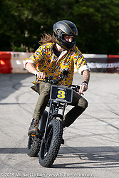 Morgan Gales in the Super 73 electric bike races during the Revival and Roland Sands sponsored races set up in the parking lot of the Austin American Statesman outside the Handbuilt Show. Austin, Texas USA. Saturday, April 13, 2019. Photography ©2019 Michael Lichter.