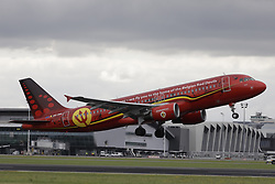 June 13, 2018 - Zaventem, BELGIUM - Illustration shows the special plane of Brussels Airlines called 'the Trident' with Belgian flag colours and pictures of players, at the take off at the departure of the Belgian national soccer team Red Devils, Wednesday 13 June 2018, in Zaventem airport. The Red Devils flight to Moscow today for the FIFA World Cup 2018...BELGA PHOTO THIERRY ROGE (Credit Image: © Thierry Roge/Belga via ZUMA Press)