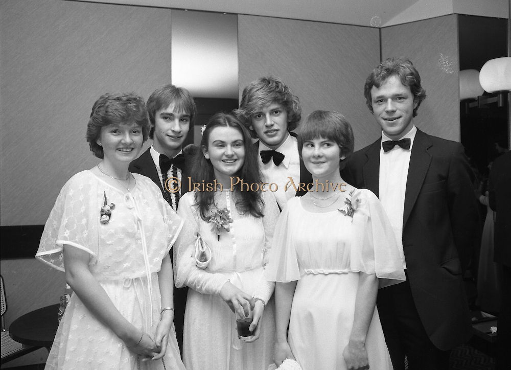 Notre Dame Des Missions Debutante Ball  (N51)..1980..15.11.1980..11.15.1980..15th November 1980..The Notre Dame Des Missions Convent School held the 18th annual Debutantes Ball. The ball was held in Jury's Hotel,Ballsbridge ,Dublin. The convent school is located in Churchtown,Dublin 14..Image shows debutants Miss Emer Fannin,Templeogue,Dublin, Miss Fiona Daly,Ardilea,Dublin and Miss Maria Gahan,Stepaside,Dublin. They were escorted by Ted O'Sullivan,Ronan Hannigan and Philip O'Connor.