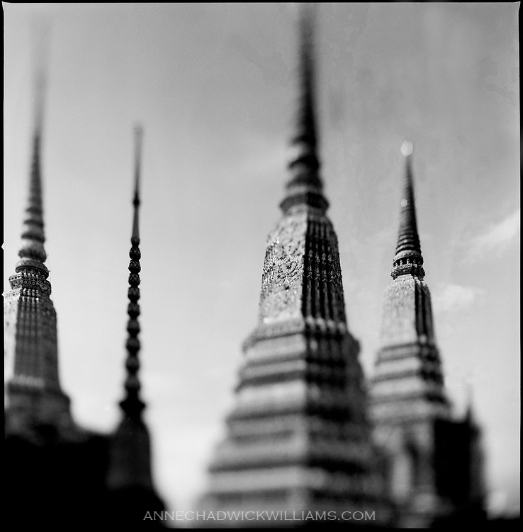 Temple spires at a wat in Bangkok, Thailand.