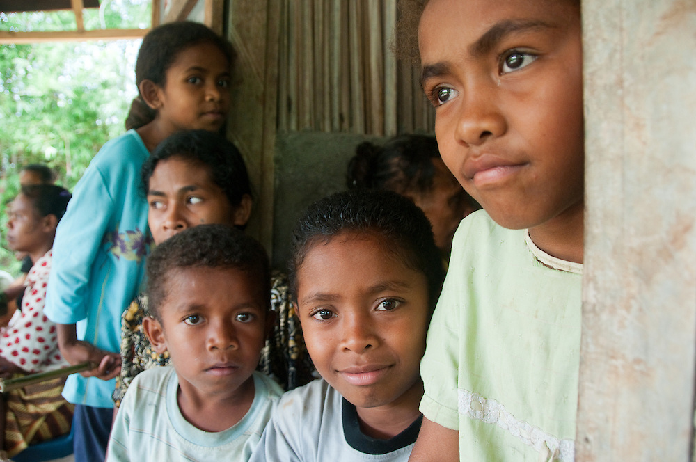 West Timor, Indonesia. Visitors to clinic set up to treat chronic malnutrition.