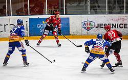 91# Tadej Cimzar of Jesenice during ice hockey match between HK SIJ Acroni Jesenice and Asiago Hockey in Round #3 of Alps Hockey League 2018/19 , on September 22, 2018 in Podmezakla hall , Jesenice, Slovenia. Photo by Urban Meglic / Sportida