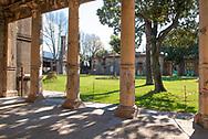 Terme del Corallo or Acque della salute.The medical laboratory building seen from the colonnade