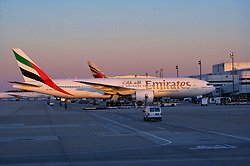United Arab Emirates airliner sitting at a terminal at Houston's Intercontinental Airport