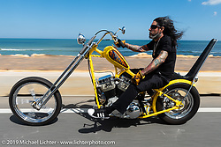 Xavier Muriel riding a Little Twisted, the Twisted Tea Panhead built by Cycle Source Magazine through Tomoka State Park during Daytona Bike Week. FL. USA. Sunday March 18, 2018. Photography ©2018 Michael Lichter.