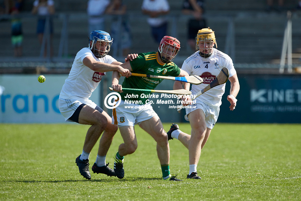 17-07-21, Joe McDonagh Cup Relegation play-off at Parnell Park.<br /> Meath v Kildare<br /> Adam Gannon (Meath) & Jack Travers / Simon Leacy (Kildare)<br /> Photo: David Mullen / www.quirke.ie ©John Quirke Photography, Proudstown Road Navan. Co. Meath. 046-9079044 / 087-2579454.<br /> ISO: 400; Shutter: 1/1600; Aperture: 5;