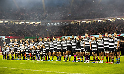 Barbarians during the anthems<br /> <br /> Photographer Simon King/Replay Images<br /> <br /> Friendly - Wales v Barbarians - Saturday 30th November 2019 - Principality Stadium - Cardiff<br /> <br /> World Copyright © Replay Images . All rights reserved. info@replayimages.co.uk - http://replayimages.co.uk