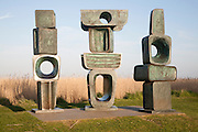 The Family of Man sculpture by Barbara Hepworth created in 1970 at Snape Maltings, Suffolk, England