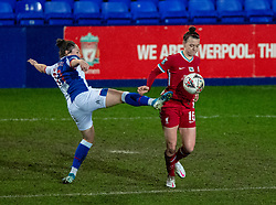 BIRKENHEAD, ENGLAND - Sunday, March 28, 2021: Liverpool's Meikayla Moore (R) and Blackburn Rovers' substitute Georgia Walters during the FA Women's Championship game between Liverpool FC Women and Blackburn Rovers Ladies FC at Prenton Park. The game ended in a 1-1 draw. (Pic by David Rawcliffe/Propaganda)