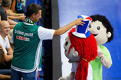 Mascots during basketball match between National teams of Latvia and Slovenia in Qualifying Round of U20 Men European Championship Slovenia 2012, on July 16, 2012 in Domzale, Slovenia. (Photo by Vid Ponikvar / Sportida.com)