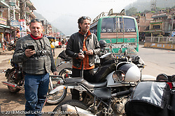 Danny Ochs and Grant Peterson on the Himalayan Heroes adventure day-3 riding from Chitwan to Pokhara, Nepal. Thursday, November 8, 2018. Photography ©2018 Michael Lichter.