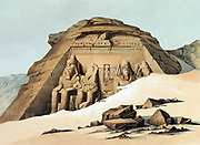 Rock Temple at Abu Simbel'. Lithograph after Karl Richard Lepsius (1810-1884) Prussian Egyptologist. Statues of Rameses (Ramses) II (ruled c1304-c1273 BC) outside main temple.  Archaeology Religion Mythology Ancient Egyptian