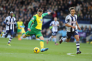 Norwich city's Gary Hooper  scores his sides 1st goal. Barclays Premier league, West Bromwich Albion v Norwich city at the Hawthorns in West Bromwich, England on Sat 7th Dec 2013. pic by Andrew Orchard, Andrew Orchard sports photography.