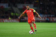Ashley Williams of Wales in action. Wales v Andorra, Euro 2016 qualifying match at the Cardiff city stadium  in Cardiff, South Wales  on Tuesday 13th October 2015. <br /> pic by  Andrew Orchard