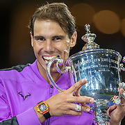 2019 US Open Tennis Tournament- Day Fourteen.   Rafael Nadal of Spain celebrates with the winner trophy after his five set victory  against Danill Medvedev of Russia in the Men's Singles Final on Arthur Ashe Stadium during the 2019 US Open Tennis Tournament at the USTA Billie Jean King National Tennis Center on September 8th, 2019 in Flushing, Queens, New York City.  (Photo by Tim Clayton/Corbis via Getty Images)