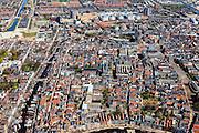 Nederland, Groningen, Groningen, 01-05-2013;<br /> Overzicht Groningen-stad, centrum. Links water van Noorderhaven, onder in beeld Hoge der A. In het midden Academiegebouw, Rijksuniversiteit Groningen. Rechts de Vismarkt, het Akerkhof met Korenbeurs. Martinitoren en Grote Markt boven midden en het UMCG.<br /> Overview on the city of Groningen, old town. <br /> luchtfoto (toeslag op standard tarieven)<br /> aerial photo (additional fee required)<br /> copyright foto/photo Siebe Swart