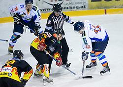 Anze Pintar of Slavija vs Dejan Zemva of Triglav at SLOHOKEJ league ice hockey match between HK Slavija and HK Triglav Kranj, on February 3, 2010 in Arena Zalog, Ljubljana, Slovenia. Triglaw won 4:1. (Photo by Vid Ponikvar / Sportida)