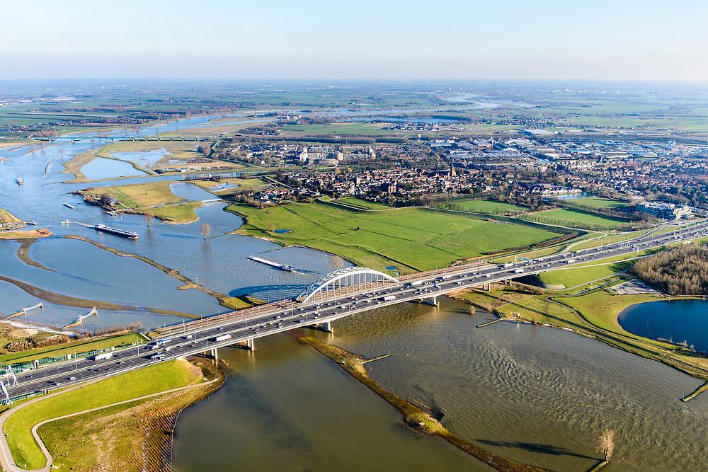 Nederland, Utrecht, Nieuwegein, 07-02-2018; Lekbrug in A2 over De Lek bij Vianen. Ook Lekbrug Vianen of Jan Blankenbrug. Hoogwatergeulen in bedrijf door het wintese hoogwater, ontstaan door de uiterwaardvergraving van de uiterwaarden Bossenwaard, Pontwaard en Heerenwaard.<br /> Lekbridge near Vianen (Utecht) with excavated floodplain and high water chanels.<br /> <br /> luchtfoto (toeslag op standard tarieven);<br /> aerial photo (additional fee required);<br /> copyright foto/photo Siebe Swart