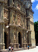 Ornately decorated facade of Spanish colonial cathedral, Oaxaca, Mexico