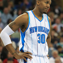 04 February 2009:  New Orleans Hornets forward David West (30) reacts after a foul is called during a 93-107 loss by the New Orleans Hornets to the Chicago Bulls at the New Orleans Arena in New Orleans, LA.