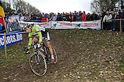 Friday 1 November 2013: Sven Vanthourenhout, Crelan-Euphony, descends during the Koppenbergcross 2013 elite men's race. Copyright 2013 Peter Horrell