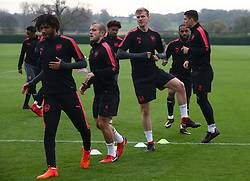 November 1, 2017 - London, England, United Kingdom - L-R Arsenal's Mohamed Elneny  Arsenal's Jack Wilshere and Arsenal's Rob Holding.during a Arsenal training session ahead of the UEFA Europa League Group H match against Red Star Belgrade (Crvena Zvezda)  at Arsenal training centre , London Colney on 1 Nov  2017 St.Albans, England  (Credit Image: © Kieran Galvin/NurPhoto via ZUMA Press)