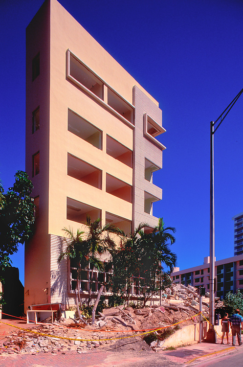 Miami Beach's sleek Miami Modern style Royal York Hotel was designed in 1950 by architect Albert Anis, and demolished in 1999, as seen here, despite preservation protests.