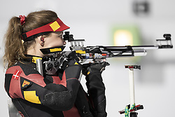BUENOS AIRES, Oct. 9, 2018  Stephanie Laura Scurrah Grundsoee of Denmark competes during the women's 10m air rifle final at the 2018 Summer Youth Olympic Games in Buenos Aires, Argentina on Oct. 8, 2018. Stephanie Laura Scurrah Grundsoee won the gold with 248.7 points. (Credit Image: © Li Ming/Xinhua via ZUMA Wire)