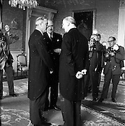 17/05/1961<br /> 05/17/1961<br /> 17 May 1961<br /> New U.S. Ambassador Edward Grant Stockdale presents his credentials at Aras an Uachtarain. Picture shows (r-l): President Eamon de Valera, Ambassador Stockdale and Minister for External Affairs, Frank Aiken chatting after the ceremony.