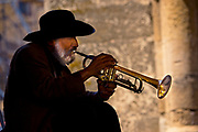 Street Musician plays in Old Town, Rhodes Island for tips, Greece