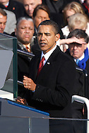 President Barack Obama gives his Inaugural address at the swearing in ceremony during the Inauguration on January 20, 2009.  Photograph:  Dennis Brack