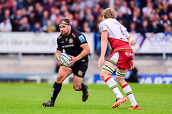 Ben Moon of Exeter Chiefs is marked by Jamie Gibson of Northampton Saints - Mandatory by-line: Ryan Hiscott/JMP - 18/05/2019 - RUGBY - Sandy Park - Exeter, England - Exeter Chiefs v Northampton Saints - Gallagher Premiership Rugby