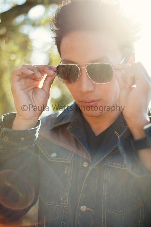 Sunglass model in editorial fashion magazine spread